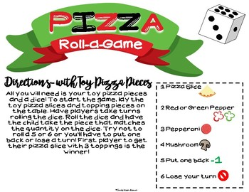 Pizza Theme Roll-a-Game: Therapy Win in the Dollar Bin