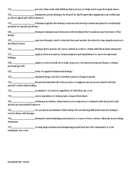 Therapy and Treatment Quiz or Worksheet for Psychology