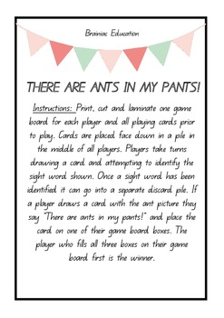 There Are Ants In My Pants  Sight Word Game DOLCH PRE-PRIMER WORDS