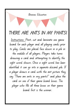 There Are Ants In My Pants Sight Word Game - DOLCH SECOND GRADE SET