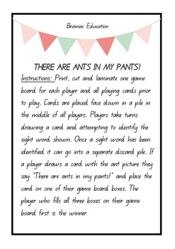 There Are Ants In My Pants Sight Word Game - FRY WORDS 1 - 50