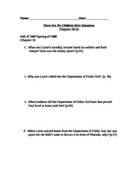 There Are No Children Here Study Guide Questions for Chapters 10-12