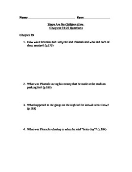 There Are No Children Here Study Guide Questions for Chapters 19-21