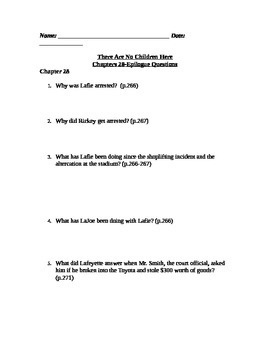 There Are No Children Here Study Guide Questions for Chapters 28-epil