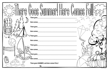 There Goes Summer! Here Comes Fall! Poetry Template