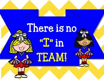 """There Is No """"I"""" In TEAM Bulletin Board Set.  Sports Cheerleaders Class"""