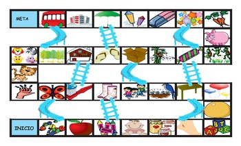 There Is versus There Are Spanish Legal Size Photo Chutes and Ladders Game