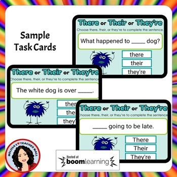 There, Their, They're, Confusing Words Boom Cards Digital Task Cards