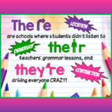 There, Their, They're - Grammar Poster