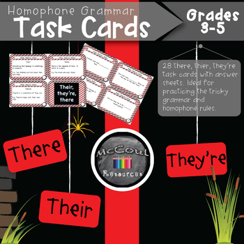 There Their They're Homophone Grammar Task Cards