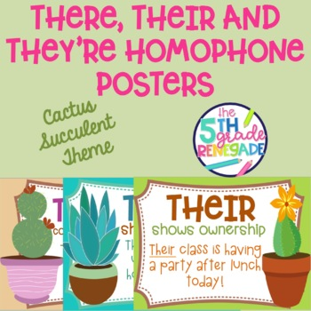 There, Their, They're Homophone Posters Cactus Succulent Theme