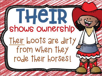 There, Their, They're Homophone Posters Cowboy Cowgirl Western Theme