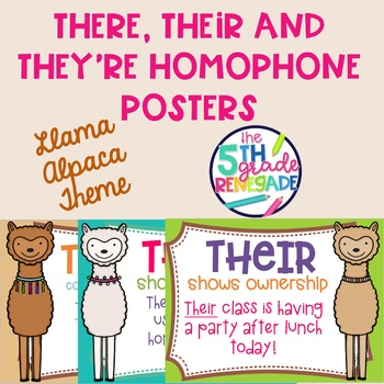 There, Their, They're Homophone Posters Llama Alpaca Theme