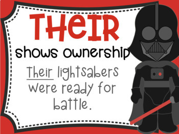 There, Their, They're Homophone Posters Star Wars Theme