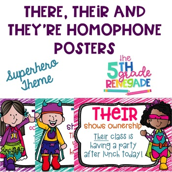 There, Their, They're Homophone Posters Superhero Theme