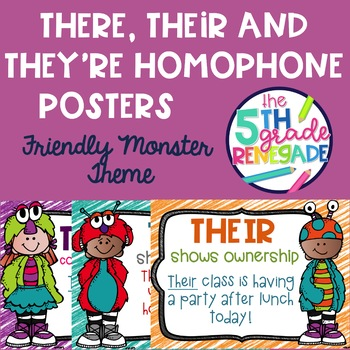 There, Their, They're Posters Friendly Monster Theme