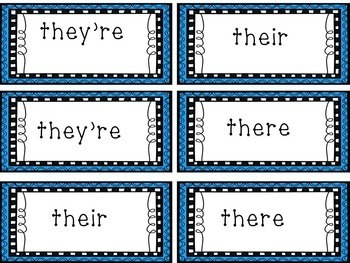 There, Their, They're Task Cards, Game, Worksheet, Interactive Notebook