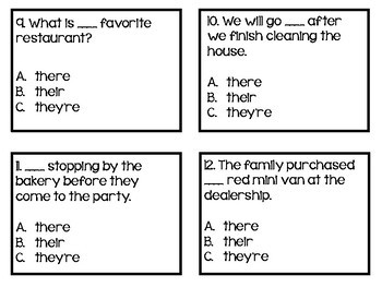 There, Their, They're Task Cards Grammar Freebie