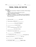 There, Their, They're Worksheet