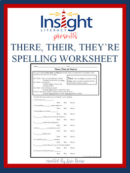 There, Their, & They're -Spelling & Usage Worksheet -Practice & Assess
