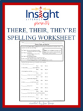 There, Their, & They're -Spelling & Usage Worksheet -Pract