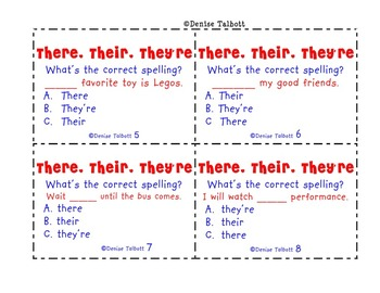 Homophones Their, They're and There Task Cards