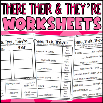 There, Their, and They're Homophone Worksheets