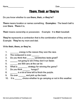 There, Their and They're worksheet with meanings, examples and problems.