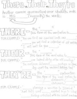 There, Their, and They're-Grammar CLOZE Notes and Practice (Great for ESL!)