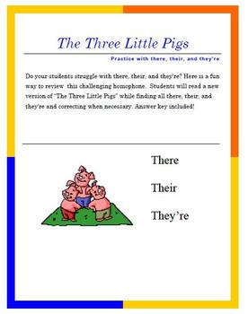There, Their, and They're Practice with The Three Little Pigs