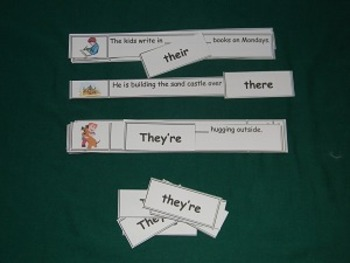 There, Their, and They're sentences Literacy Center - Hard Good