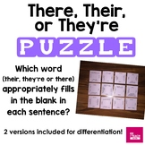 There, Their, They're Printable PUZZLE Homophone Activity