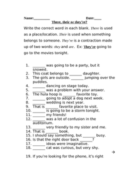 There Their or They're Practice Worksheet