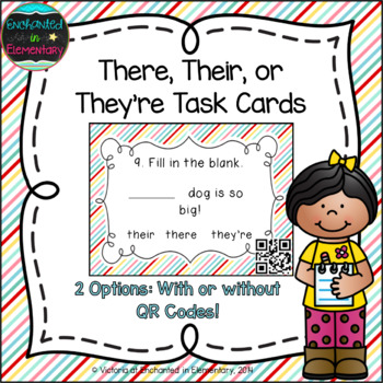 Grammar Task Cards: There, Their, or They're? Set