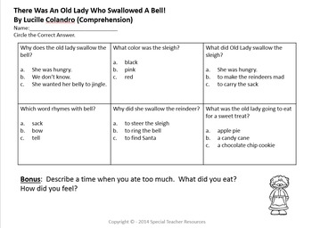 There Was An Old Lady Who Swallowed A Bell Literary Unit