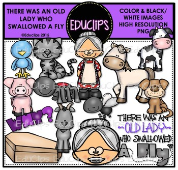 There Was An Old Lady Who Swallowed A Fly Clip Art Bundle {Educlips Clipart}