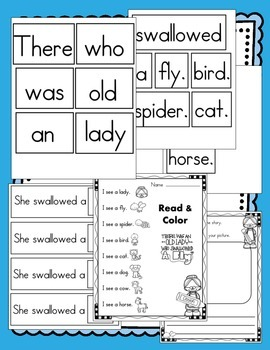 There Was An Old Lady Who Swallowed A Fly Literacy Activities (10 Activities)
