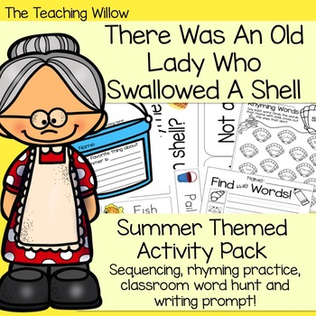 There Was An Old Lady Who Swallowed A Shell Summer Themed Activity Pack