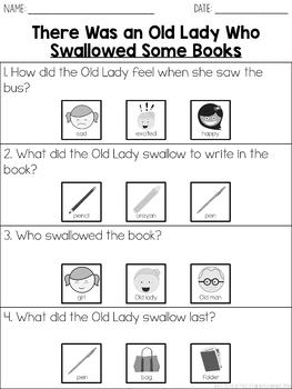 """Story Questions for """"There Was An Old Lady Who Swallowed A Some Books"""""""