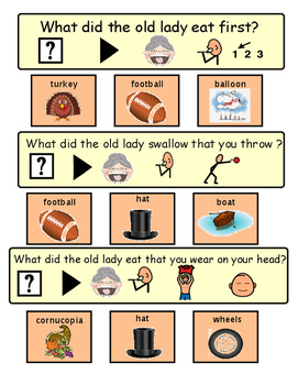 """There Was An Old Lady Who Swallowed A Turkey """"WH"""" questions  (Autism, Speech)"""