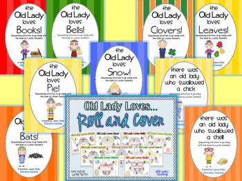 There Was An Old Lady Who Swallowed... Sequencing and Roll & Cover {BUNDLE PACK}