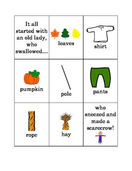 There Was An Old Lady Who Swallowed Some Leaves - Sequence Activity & Response