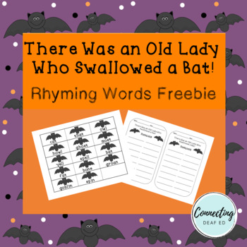 There Was An Old Lady Who Swallowed a Bat! Rhyming Words Freebie