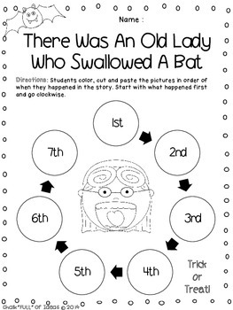 There Was An Old Lady Who Swallowed a Bat Sequencing Freebie