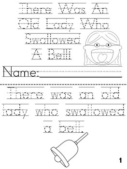 """There Was An Old Lady Who Swallowed a Bell"" Cut, Trace & Color Printable Book"