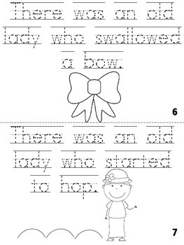 """""""There Was An Old Lady Who Swallowed a Chick"""" Cut, Trace & Color Printable Book!"""