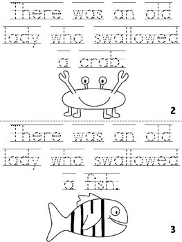 """There Was An Old Lady Who Swallowed a Shell!"" Cut, Trace & Color Printable Book"