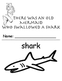There Was An Old Mermaid Who Swallowed a Shark black and white book printable