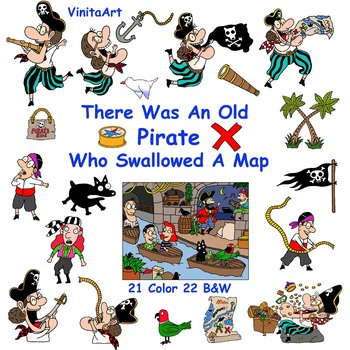 There Was An Old Pirate Who Swallowed A Map story book clip art