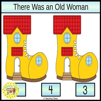 There Was An Old Woman Count and Clip Task Cards